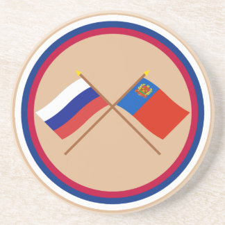 Crossed flags of Russia and Kemerovo Oblast Coaster