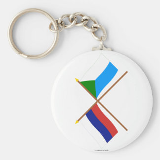 Crossed flags of Russia and Khabarovsk Krai Basic Round Button Keychain