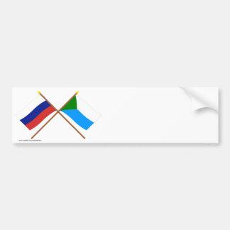 Crossed flags of Russia and Khabarovsk Krai Car Bumper Sticker