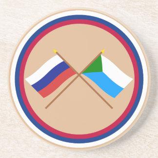 Crossed flags of Russia and Khabarovsk Krai Drink Coaster