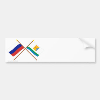 Crossed flags of Russia and Kirov Oblast Bumper Sticker