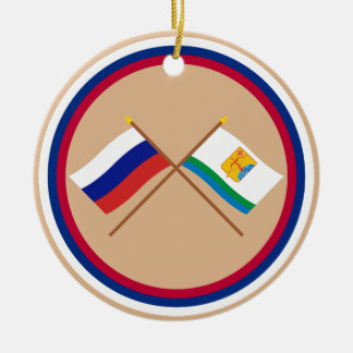 Crossed flags of Russia and Kirov Oblast Ceramic Ornament