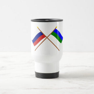 Crossed flags of Russia and Komi Republic 15 Oz Stainless Steel Travel Mug