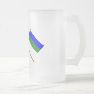 Crossed flags of Russia and Komi Republic 16 Oz Frosted Glass Beer Mug