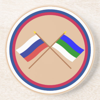 Crossed flags of Russia and Komi Republic Drink Coaster