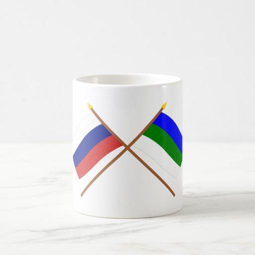 Crossed flags of Russia and Komi Republic Coffee Mugs