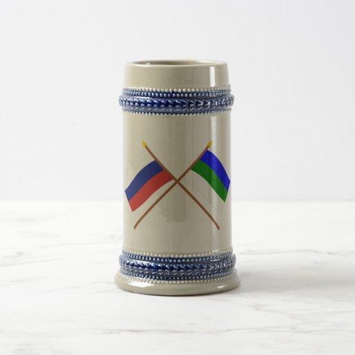 Crossed flags of Russia and Komi Republic Mugs