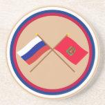 Crossed flags of Russia and Krasnoyarsk Krai Beverage Coasters