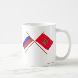 Crossed flags of Russia and Krasnoyarsk Krai Classic White Coffee Mug