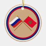Crossed flags of Russia and Krasnoyarsk Krai Christmas Tree Ornament
