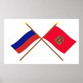 Crossed flags of Russia and Krasnoyarsk Krai Poster