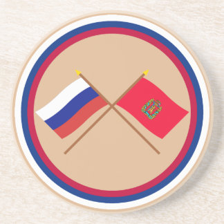 Crossed flags of Russia and Krasnoyarsk Krai Sandstone Coaster