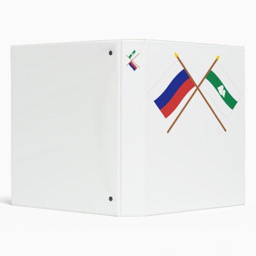 Crossed flags of Russia and Kurgan Oblast Vinyl Binders