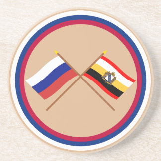 Crossed flags of Russia and Kursk Oblast Coaster