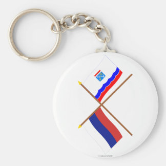 Crossed flags of Russia and Leningrad Oblast Basic Round Button Keychain