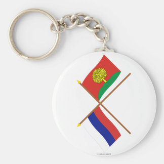 Crossed flags of Russia and Lipetsk Oblast Basic Round Button Keychain
