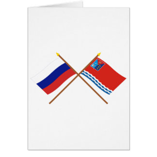 Crossed flags of Russia and Magadan Oblast Cards