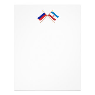 Crossed flags of Russia and Mari El Republic Letterhead Template