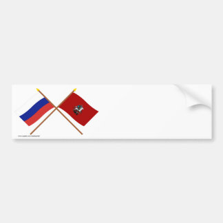 Crossed flags of Russia and Moscow Federal City Bumper Stickers