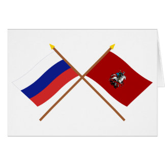 Crossed flags of Russia and Moscow Federal City Greeting Cards