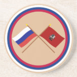 Crossed flags of Russia and Moscow Federal City Beverage Coasters