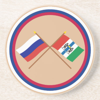 Crossed flags of Russia and Novosibirsk Oblast Drink Coaster