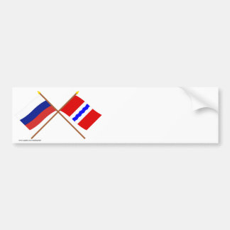 Crossed flags of Russia and Omsk Oblast Bumper Stickers