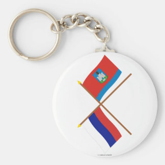 Crossed flags of Russia and Oryol Oblast Basic Round Button Keychain