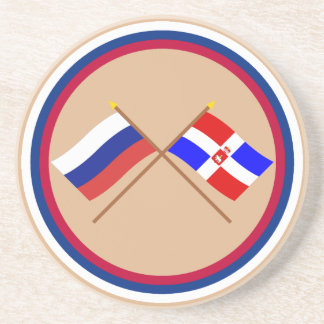 Crossed flags of Russia and Perm  Krai Drink Coaster