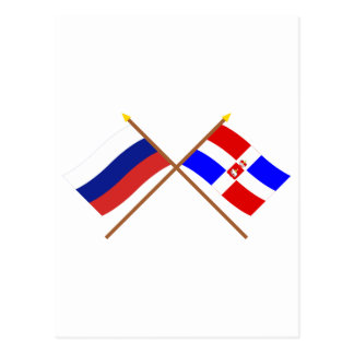 Crossed flags of Russia and Perm Krai Postcard