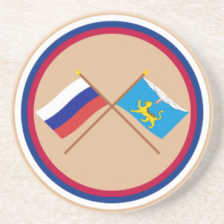 Crossed flags of Russia and Pskov Oblast Drink Coaster