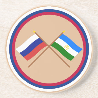 Crossed flags of Russia and Rep. of Bashkortostan Drink Coaster