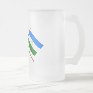 Crossed flags of Russia and Rep. of Bashkortostan Frosted Glass Beer Mug