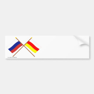 Crossed flags of Russia and Rep. of North Ossetia Bumper Sticker