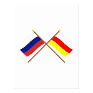 Crossed flags of Russia and Rep. of North Ossetia Postcard