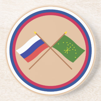 Crossed flags of Russia and Republic of Adygea Coaster
