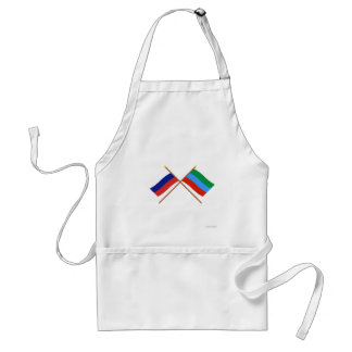 Crossed flags of Russia and Republic of Dagestan Aprons