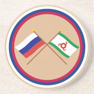 Crossed flags of Russia and Republic of Ingushetia Drink Coaster