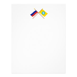 Crossed flags of Russia and Republic of Kalmykia Letterhead Template