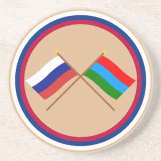 Crossed flags of Russia and Republic of Karelia Sandstone Coaster
