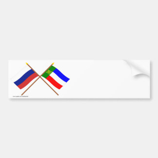 Crossed flags of Russia and Republic of Khakassia Bumper Sticker