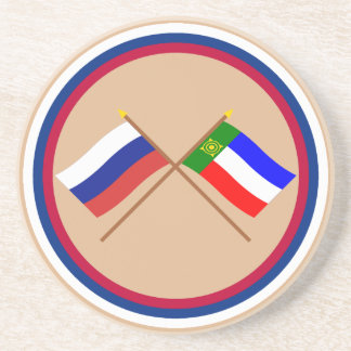 Crossed flags of Russia and Republic of Khakassia Drink Coaster