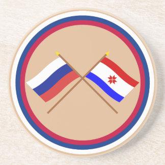 Crossed flags of Russia and Republic of Mordovia Sandstone Coaster