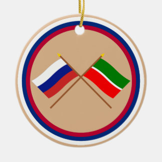 Crossed flags of Russia and Republic of Tatarstan Ceramic Ornament