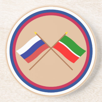 Crossed flags of Russia and Republic of Tatarstan Coaster