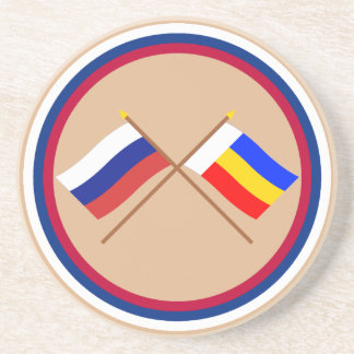 Crossed flags of Russia and Rostov Oblast Sandstone Coaster