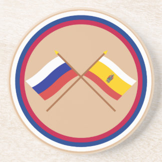 Crossed flags of Russia and Ryazan Oblast Beverage Coasters