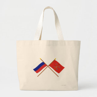 Crossed flags of Russia and Saint Petersburg Canvas Bags