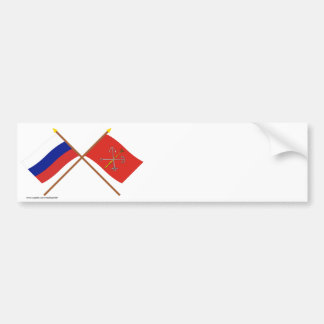 Crossed flags of Russia and Saint Petersburg Bumper Sticker