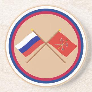 Crossed flags of Russia and Saint Petersburg Drink Coaster